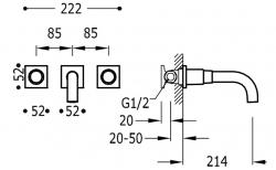 TRES - Nástenná umývadlová batéria, vrátane nerozdělitelného zabudovaného telesa, ramienko 214 mm (21115201OM), fotografie 2/1