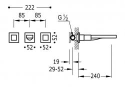 TRES - Nástenná umývadlová batéria, vrátane nerozdělitelného zabudovaného telesa, ramienko 240 mm (00815401OR), fotografie 2/1