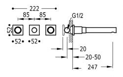 TRES - Nástenná umývadlová batéria, vrátane nerozdělitelného zabudovaného telesa, ramienko 247 mm (21175301OM), fotografie 2/1