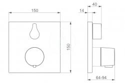 HANSA - Living Termostatická sprchová batéria pod omietku, chróm (81139562), fotografie 2/1