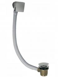 TRES - Odtoková a napúšťacia vaňová hranatá súprava KASKÁDA s prepadom zátka O 70 mm CLICK-CLACK (03453440AC)