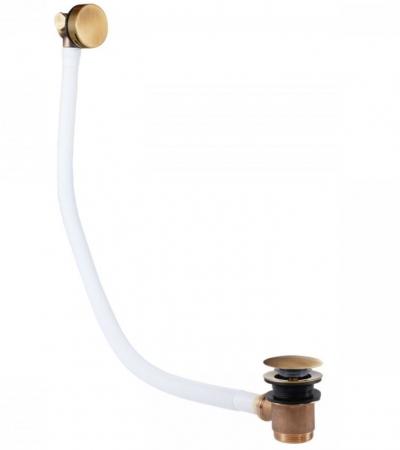 TRES - Odtoková a napúšťacia vaňová guľatá súprava KASKÁDA s prepadom zátka O 70 mm (03453430LV)