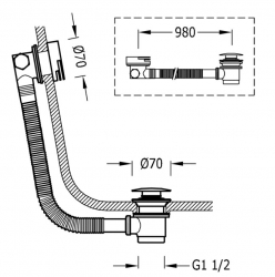 TRES - Odtoková a napúšťacia vaňová guľatá súprava KASKÁDA s prepadom zátka O 70 mm (03453430LV), fotografie 2/1