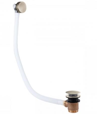 TRES - Odtoková a napúšťacia vaňová guľatá súprava KASKÁDA s prepadom zátka O 70 mm CLICK-CLACK (03453430AC)