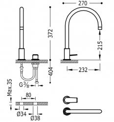 TRES - Páková batéria k umývadlu, možnosť samostatnej inštalácie (21110501KM), fotografie 2/1