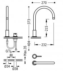 TRES - Páková batéria k umývadlu, možnosť samostatnej inštalácie (26110501OR), fotografie 2/1