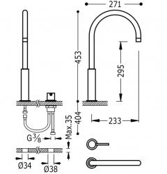 TRES - Páková batéria k umývadlu, možnosť samostatnej inštalácie (26110502KM), fotografie 2/1