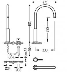 TRES - Páková batéria k umývadlu, možnosť samostatnej inštalácie (26110502OR), fotografie 2/1