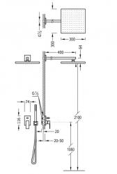 TRES - Podomietkový sprchový set s uzáverom a reguláciou prietoku, vrátane telesa (00698002OR), fotografie 2/1