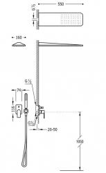TRES - Podomietková sprchová jednopáková set LOFT s uzáverom a reguláciou prietoku, vrátane telesa (20018005OM), fotografie 2/3