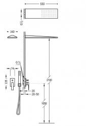 TRES - Podomietková sprchová jednopáková set s uzáverom a reguláciou prietoku, vrátane telesa  (20218003OM), fotografie 2/1