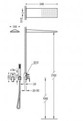 TRES - Podomietková sprchová jednopáková set s uzáverom a reguláciou prietoku, vrátane telesa (21198092OM), fotografie 2/1
