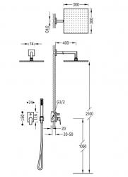 TRES - Podomietková sprchová jednopáková set s uzáverom a reguláciou prietoku, vrátane telesa (21198091OM), fotografie 2/1