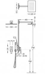 TRES - Podomietková sprchová jednopáková set s uzáverom a reguláciou prietoku, vrátane telesa (20218006OM), fotografie 2/1