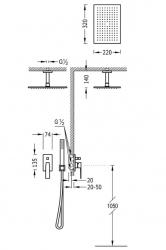 TRES - Podomietková sprchová jednopáková set s uzáverom a reguláciou prietoku, vrátane telesa (20218080OM), fotografie 2/1