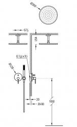 TRES - Podomietková sprchová jednopáková set s uzáverom a reguláciou prietoku, vrátane telesa (26218080NM), fotografie 2/1
