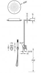TRES - Podomietková sprchová jednopáková set s uzáverom a reguláciou prietoku, vrátane telesa (21198099OM), fotografie 2/1