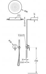 TRES - Podomietková sprchová jednopáková set s uzáverom a reguláciou prietoku, vrátane telesa (26218099OM), fotografie 2/1