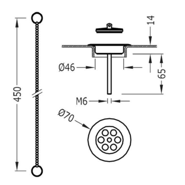 TRES - Súprava príslušenstva pre umývadlovú, bidetovú a drezovú batériu, priemer 70 mm (03474601AC)