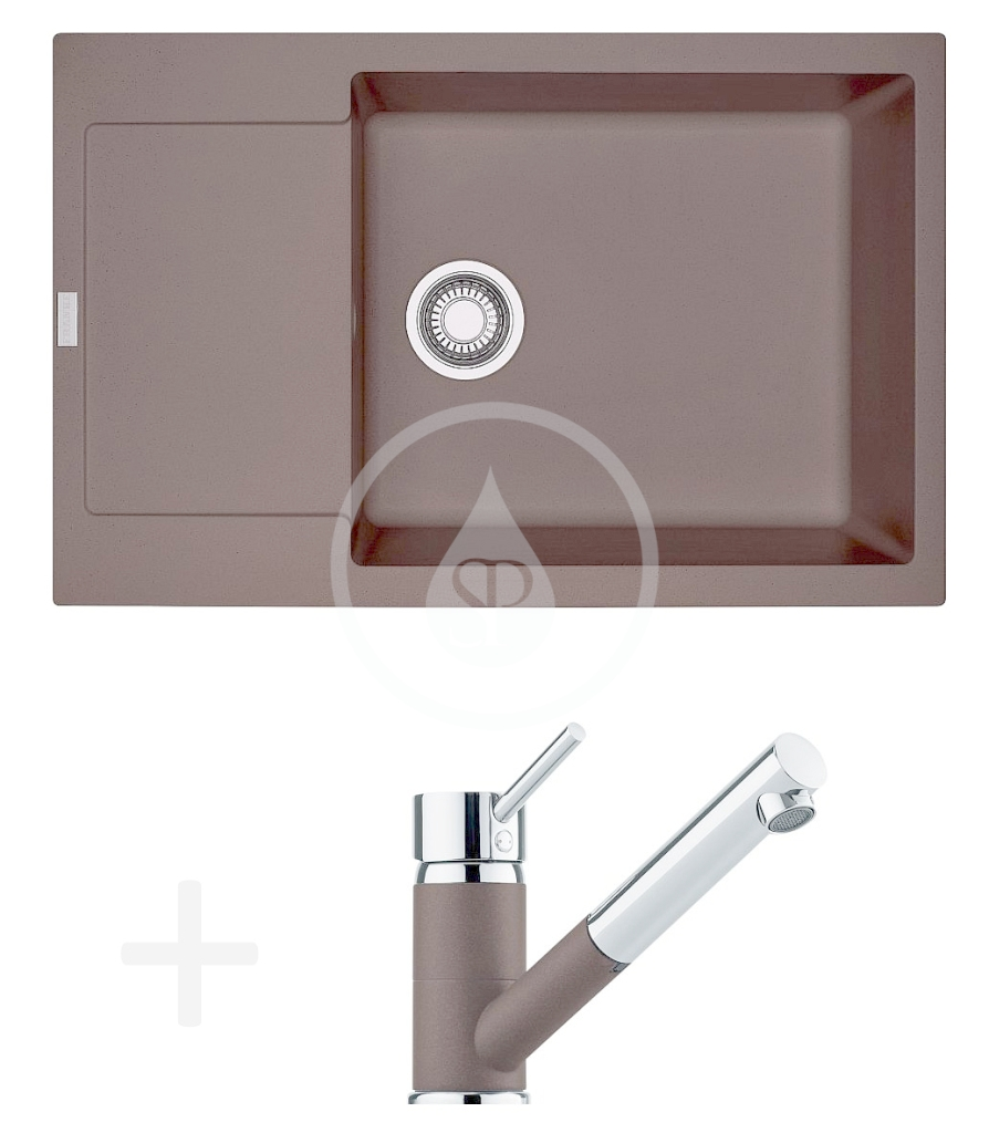 FRANKE FRANKE - Sety Kuchyňský set G78, granitový dřez MRG 611-78 BB, tmavě hnědá + baterie FG 7486, tmavě hnědá (114.0365.714)