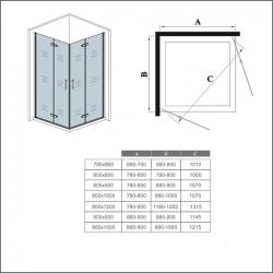 H K - Obdélníkový sprchový kout MELODY R907, 90x70 cm se zalamovacími dveřmi (SE-MELODYR907), fotografie 10/10