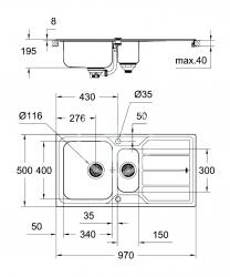 GROHE - Dřezy Drez K500 s automatickým odtokom, 970mm x 500 mm (31572SD0), fotografie 6/3