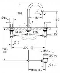 GROHE - Atrio Umývadlová batéria s výpustom a otočným výtokom, veľkosť M, 3-otvorová inštalácia, chróm (20009003), fotografie 2/1