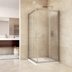 MEREO - Sprchový kút, Mistica, štvorec, 90 cm, chrom ALU, sklo Čiré, dvere zasúvacie (CK608A23H)