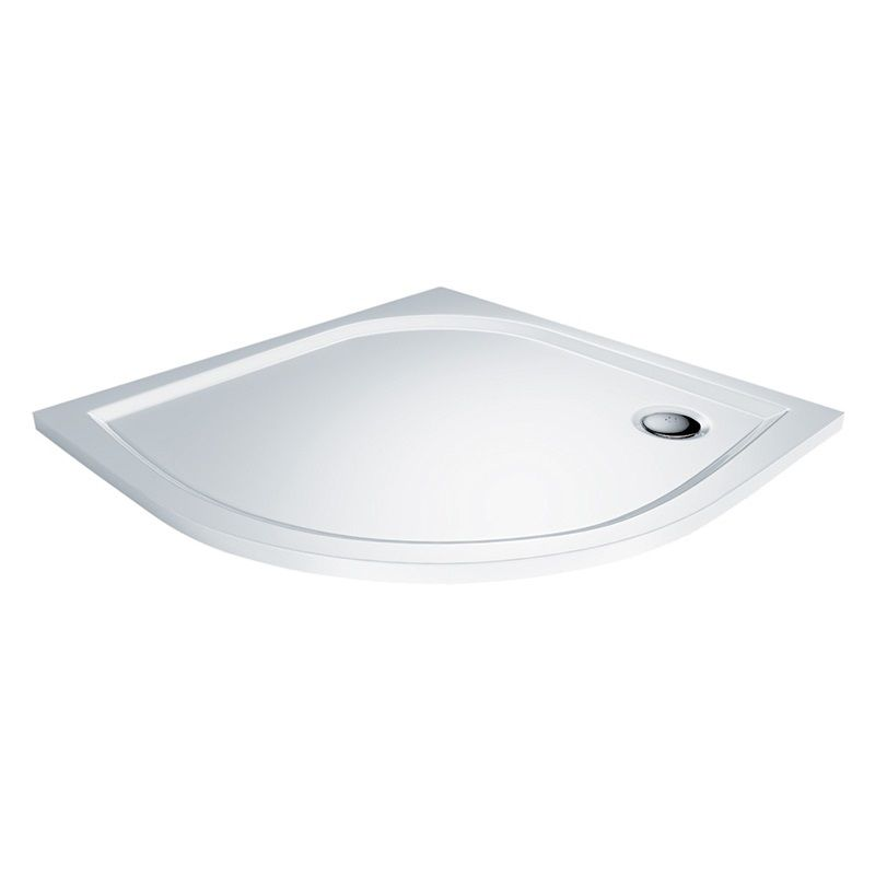 MEREO - Štvrťkruhová sprchová vanička, 80x80x3 cm, R550, bez nožičiek, liaty mramor CV15M