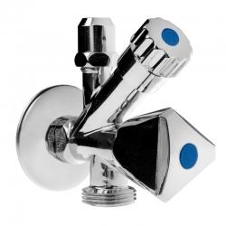 """MEREO - Ventil rohový pre práčku a WC so spätnou klapkou a ružicou, pochrom. mosadz, 1/2""""x3/8""""x3/4"""" (CR39C)"""