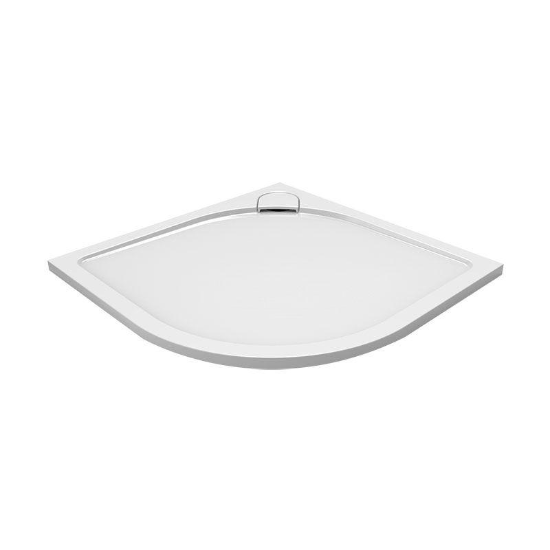 MEREO - Štvrťkruhová sprchová vanička s oblým kryt. sifónu, 80x80x3 cm, vr. sif., bez nožičiek, liaty mramor CV15CS
