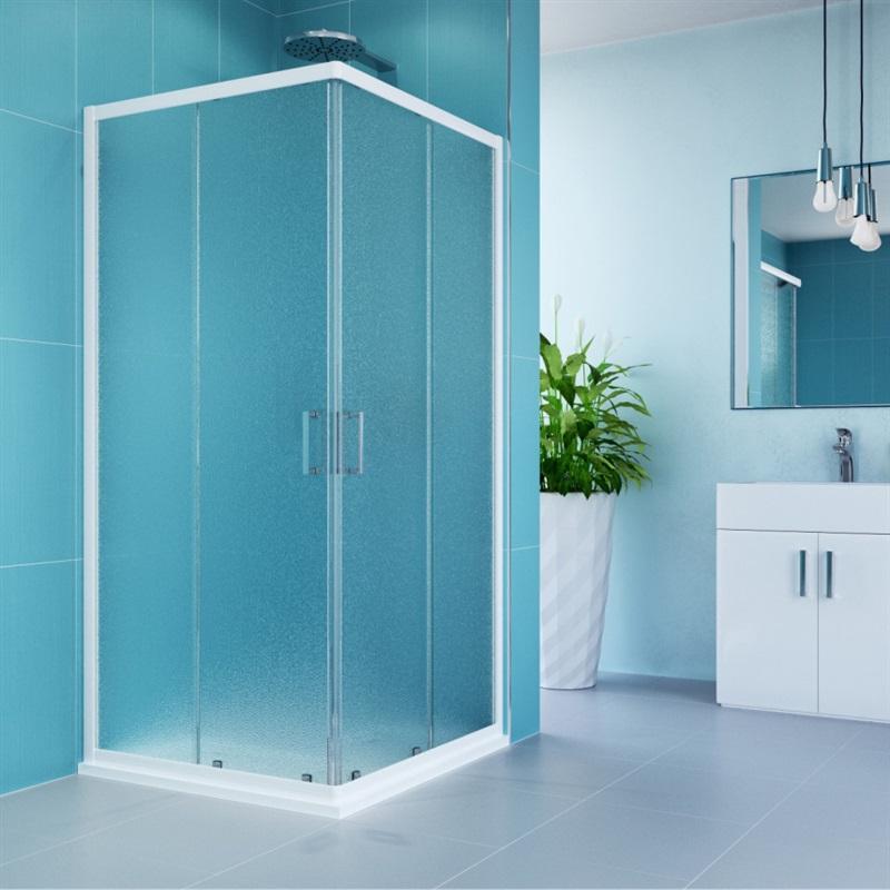 MEREO MEREO - Sprchový set:, Kora, obdélník, 90x80 cm, bílý ALU, sklo Grape, vanička (CK34121HM)