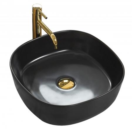 REA - Umývadlo na dosku Elena 44x44 čierna matná (REA-U7910)
