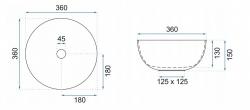REA - Umývadlo na dosku Stella 36x36 ružové (REA-U1894), fotografie 2/5