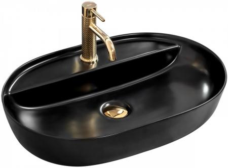 REA - Umývadlo na dosku Aura 60,5x40,5 čierna polomatná (REA-U7901)