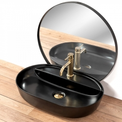 REA - Umývadlo na dosku Aura 60,5x40,5 čierna polomatná (REA-U7901), fotografie 10/5