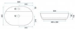REA - Umývadlo na dosku Aura 60,5x40,5 čierna polomatná (REA-U7901), fotografie 4/5