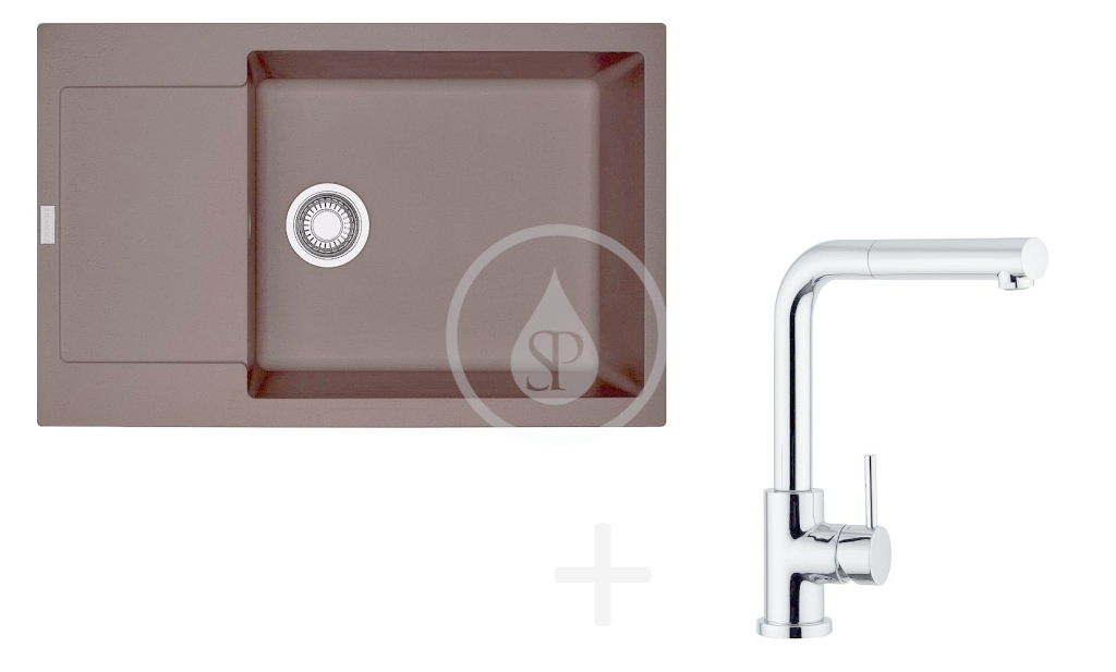 FRANKE FRANKE - Sety Kuchyňský set G76, granitový dřez MRG 611-78 BB, tmavě hnědá + baterie FN 0147, chrom (114.0365.685)