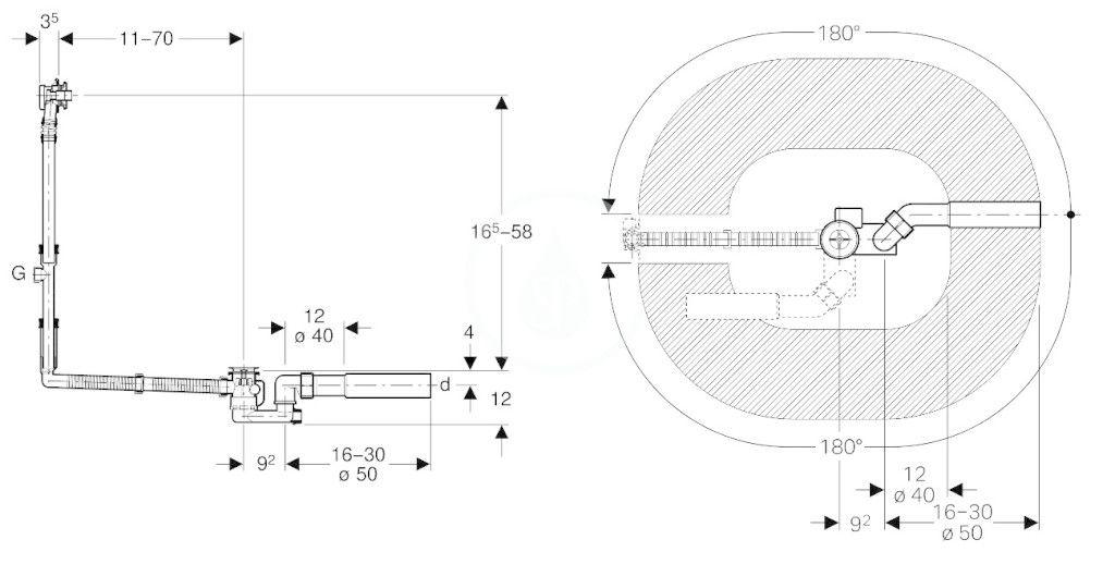 GEBERIT - Příslušenství Odtoková a prepadová súprava na vaňu, s otočným ovládaním, špeciálna veľkosť (150.505.00.1)