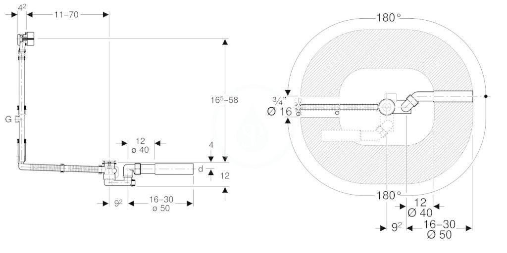 GEBERIT - Příslušenství Odtoková a prepadová súprava na vaňu, s otočným ovládaním a prívodom, špeciálna veľkosť (150.701.00.1)