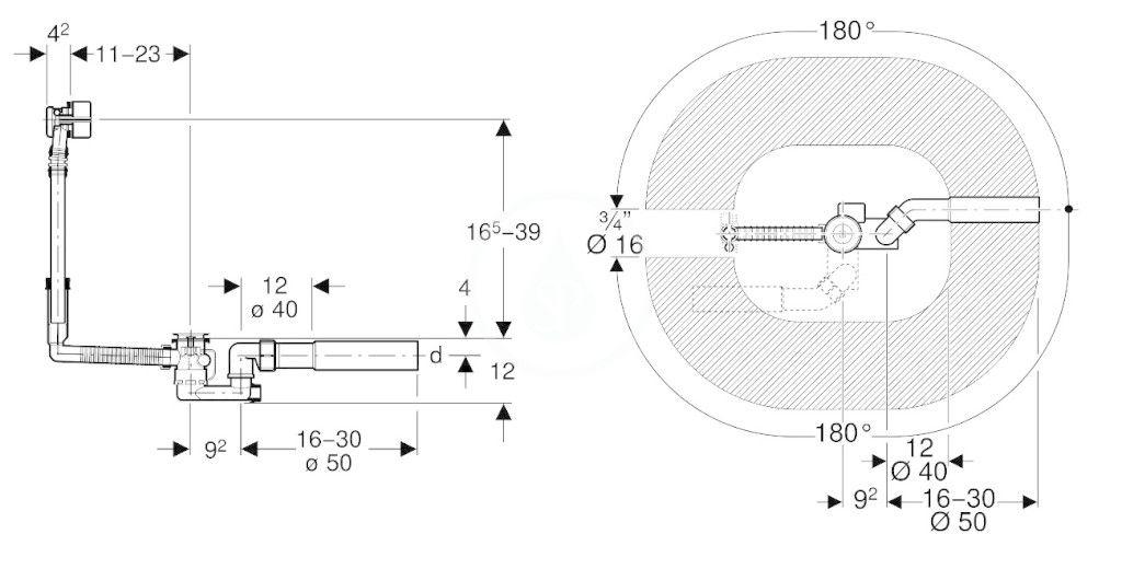 GEBERIT - Příslušenství Odtoková a prepadová súprava na vaňu, s otočným ovládaním a prívodom, súprava na kompletizáciu, chróm (150.710.21.1)