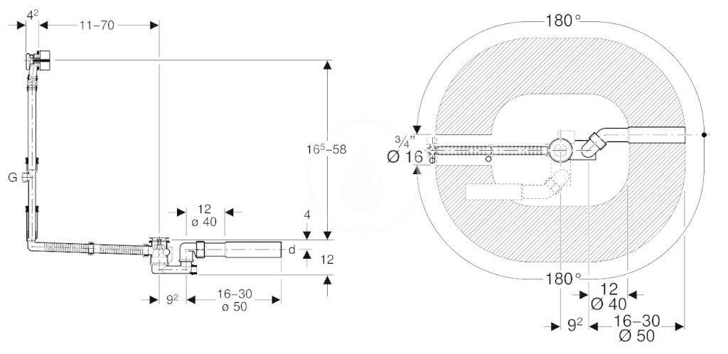GEBERIT - Příslušenství Odtoková a prepadová súprava na vaňu, s otočným ovládaním a prívodom, súprava na kompletizáciu, chróm (150.711.21.1)