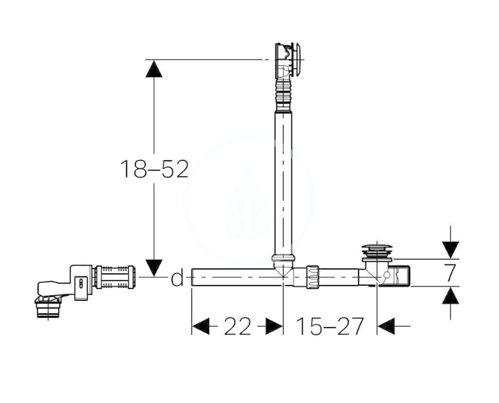 GEBERIT - Příslušenství Odtoková a prepadová súprava vane, na pripojenie na sprchový odtok v stene, chróm (154.246.00.1)
