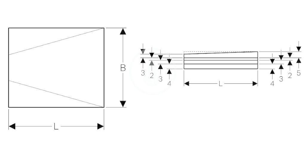 GEBERIT - Příslušenství Sprchová doska 1000x1000 mm, umožňujúca obloženie, so spádom do V (154.253.00.1)
