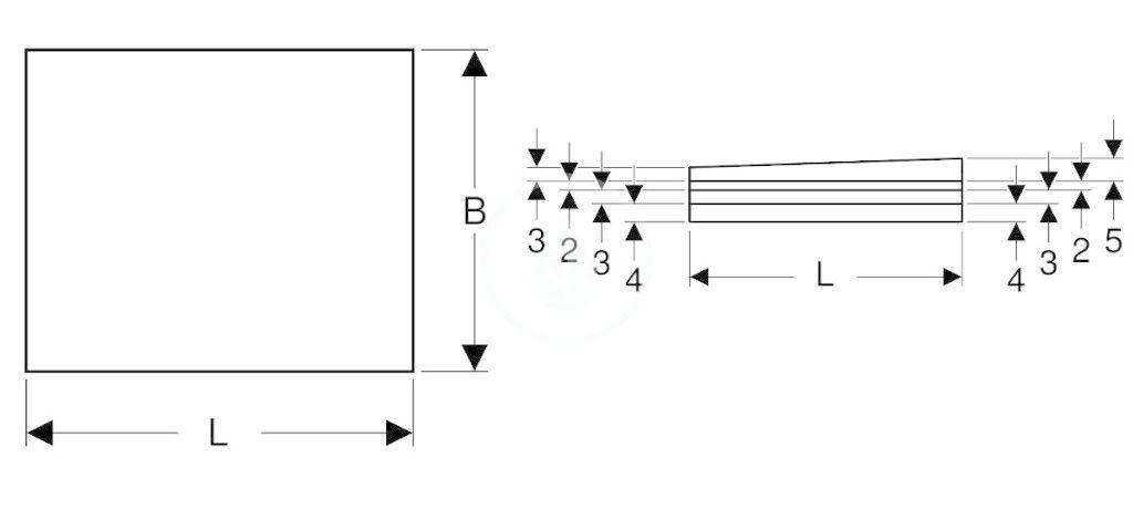 GEBERIT - Příslušenství Sprchová doska 1200x1000 mm, umožňujúca obloženie, so spádom do L (154.265.00.1)