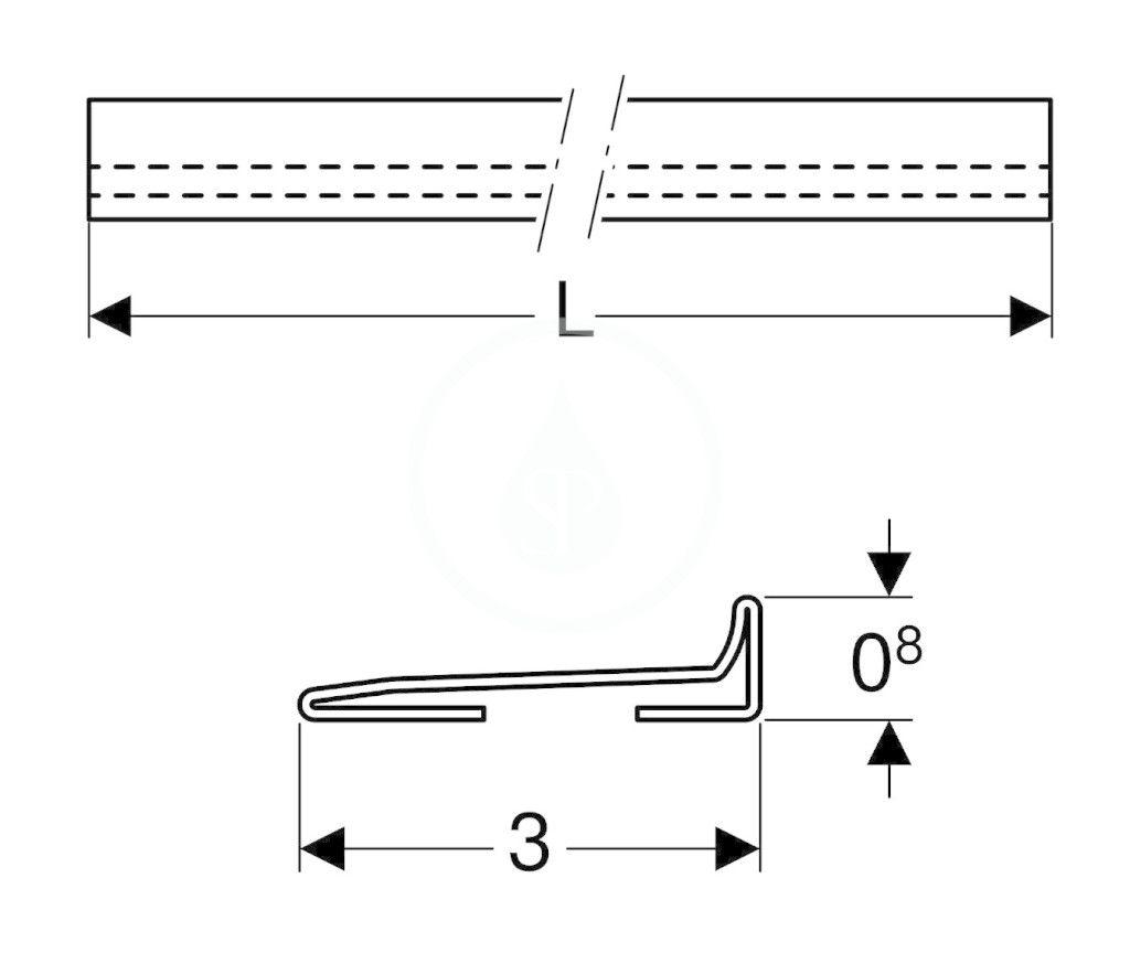 GEBERIT - Příslušenství Zberný profil na sprchový odtok v stene, 1150 mm, kefovaná nerezová (154.340.FW.1)
