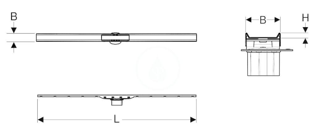 GEBERIT - CleanLine Nerezový sprchový kanálik 80, 300-900 mm, čierny chróm/kefovaný chróm (154.440.QC.1)
