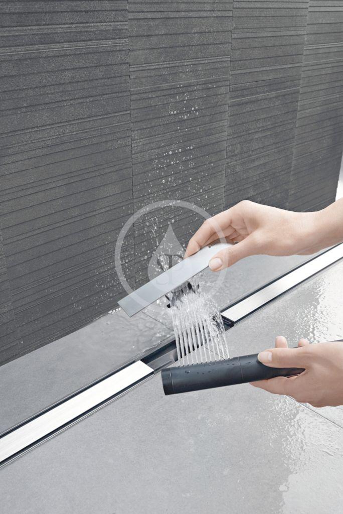 GEBERIT - CleanLine Nerezový sprchový kanálik 80, 300-1300 mm, čierny chróm/kefovaný chróm (154.441.QC.1)