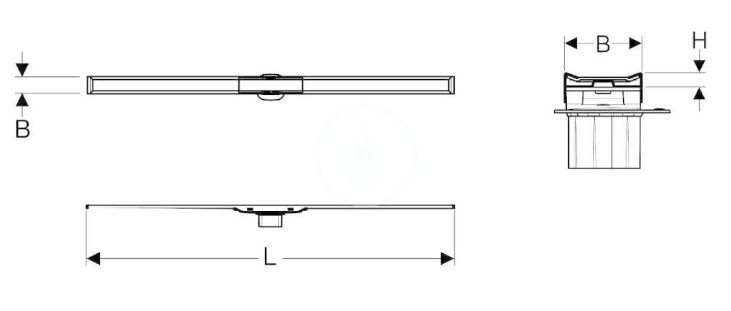 GEBERIT - CleanLine Nerezový sprchový kanálik 20, 300-1600 mm, leštená/kefovaná nerezová (154.453.KS.1)