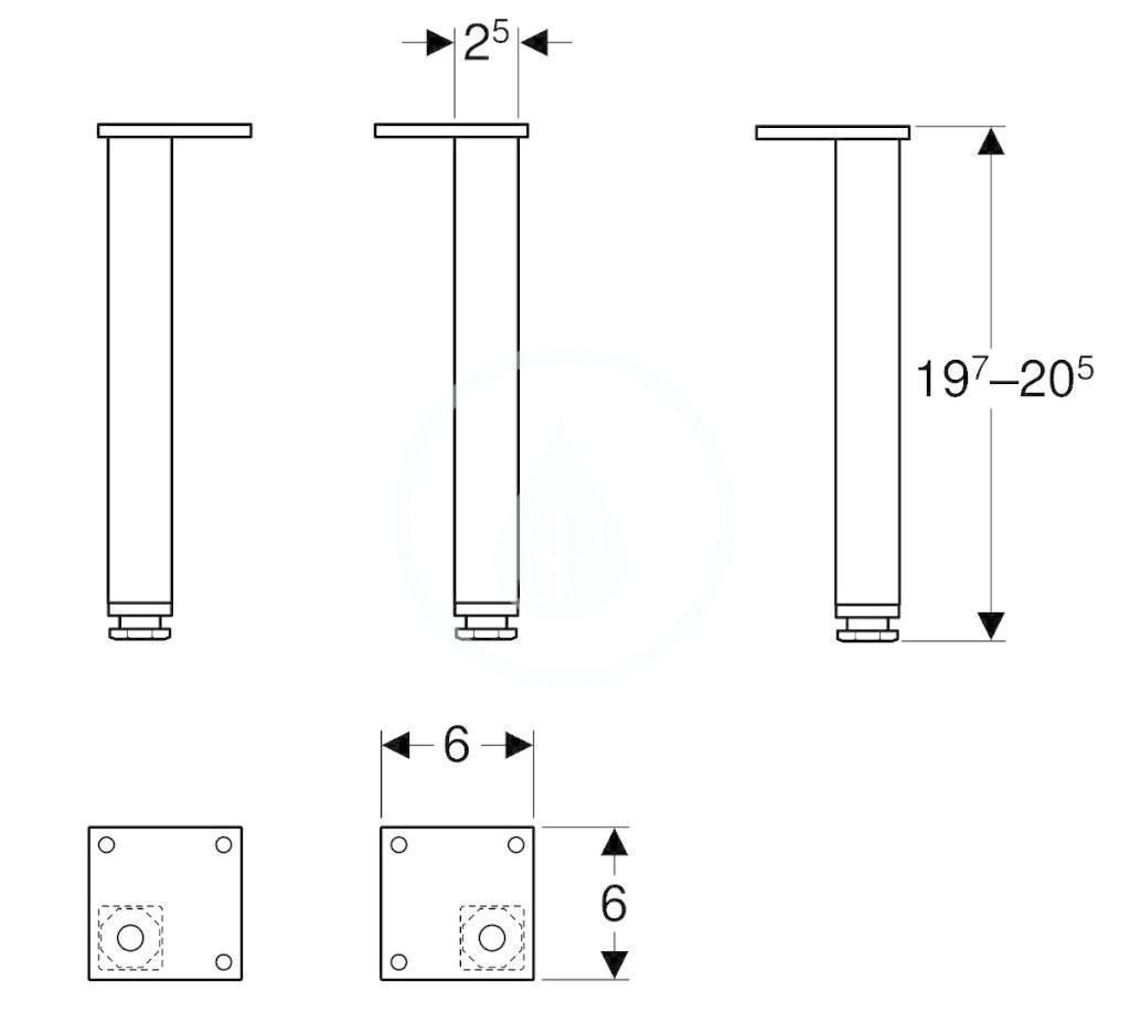 GEBERIT - Selnova Square Nábytkové nožičky, 2 ks, biela (501.423.01.1)